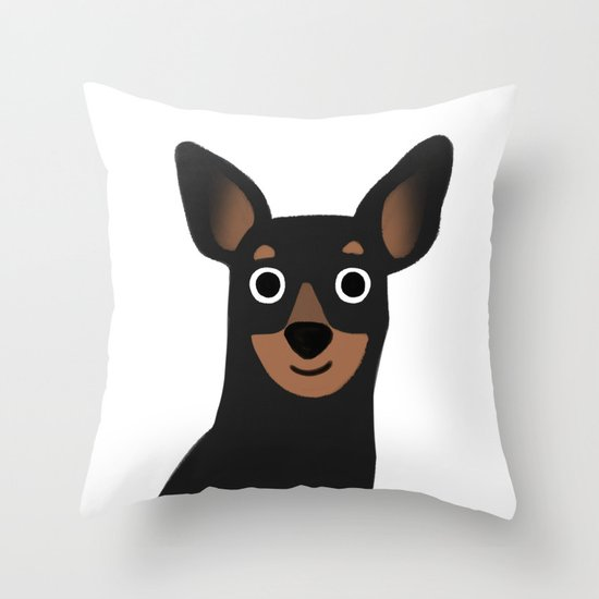 Cute Throw Pillow Society6 : Min Pin - Cute Dog Series Throw Pillow by Cassandra Berger Society6