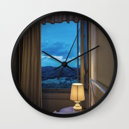 Panoramic view of the rolling hills of Chianti through a window at sunset Wall Clock