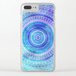 Blue Turquoise And Purple Watercolor Mandala Art Clear iPhone Case