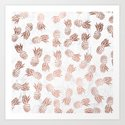 Modern faux rose gold pineapples white marble pattern by girlytrend