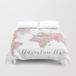 World map in dusty pink & grey watercolor, Adventure awaits Duvet Cover