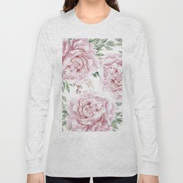 Beautiful Pink Roses Garden Long Sleeve T-shirt