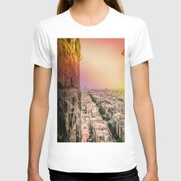 Colorful Rainbow over the Old City of Barcelona T-shirt