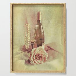 Wine Rose and Pearls Still Life Kitchen Art Modern Cottage Art A434 Serving Tray