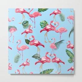 Flamingos Love Pattern 7 Metal Print