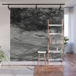 Black Tempest - Abtract Ocean Sea Pattern in Black And White Wall Mural