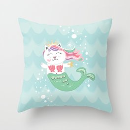 Purrmaid, Cat Mermaid Princess Throw Pillow