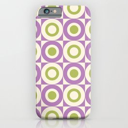 Mid Century Square and Circle Pattern 541 Lavender and Chartreuse iPhone Case
