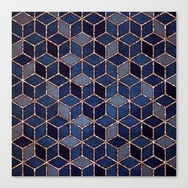 Shades Of Purple & Blue Cubes Pattern Canvas Print