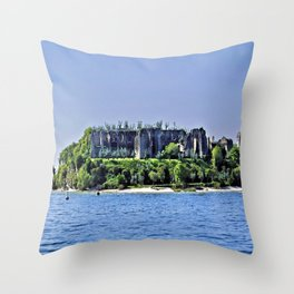 Medieval Ruins - Lake Garda Throw Pillow
