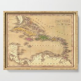 Map Of The Caribbean 1828 Serving Tray