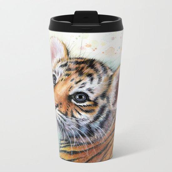 Tiger Cub Cute Baby Animals Metal Travel Mug