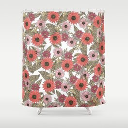Girly blush pink coral gold modern floral Shower Curtain