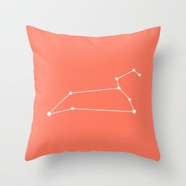 Leo Zodiac Constellation - Coral Red Throw Pillow