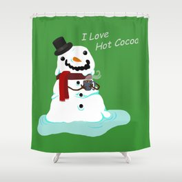 Snowman who Loves Hot Cocoa Shower Curtain