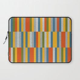 Orange, Green, Blue, Gray / Grey Stripes, Nautical Maritime Laptop Sleeve