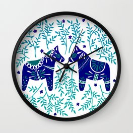 Swedish Dala Horses – Navy & Blue Palette Wall Clock