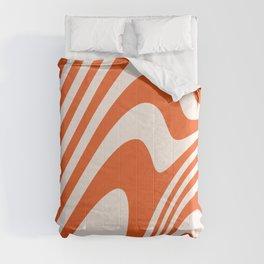 Deep Orange Zebra Grooves Abstract Pattern Comforters