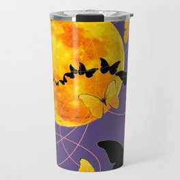 Puce Color Butterfly Full Moon Art Abstract Travel Mug