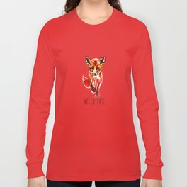Cute Little Red Fox water colour ink Long Sleeve T-shirt
