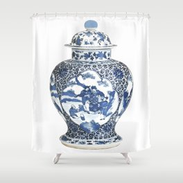 Blue & White Chinoiserie Porcelain Ginger Jar with Country Scene Shower Curtain