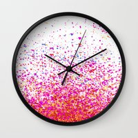sparkles Wall Clocks featuring sparkles by Bunny Noir