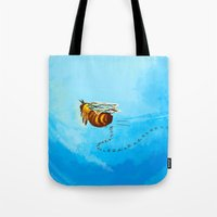 pushing daisies Tote Bags featuring I'm pushing up my daisies for you by Rahciach