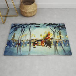 Japanese Covered Litter and Lanterns Rug