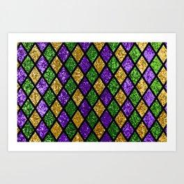 Shiny green, purple and golden glittering paillettes diamonds background pattern fabric. Mardi Gras holiday poster Art Print