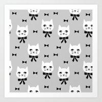 Cute Cats bow ties grey kittens cat art pattern design by andrea lauren Art Print