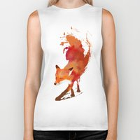 art nouveau Biker Tanks featuring Vulpes vulpes by Robert Farkas