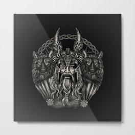 Odin and his wolves Geri and Freki Metal Print