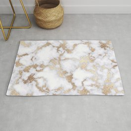 Modern Chic White Gold Foil Marble Pattern Rug