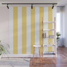 Jasmine yellow - solid color - white vertical lines pattern Wall Mural