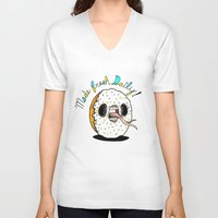 dessert V-neck T-shirts featuring Evil Dessert by Taylor Beck