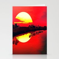 duvet cover Stationery Cards featuring Sunset duvet cover by customgift