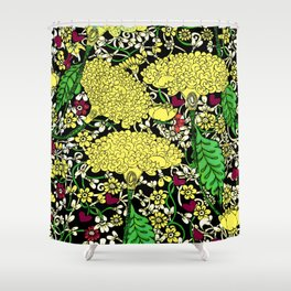 YELLOW & BLACK FLORAL FRIVOLITY FANTASY GARDEN Shower Curtain
