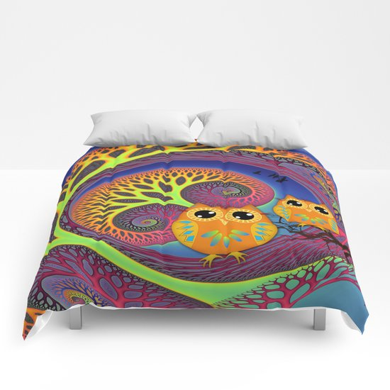 Owls in a magical tree Comforters