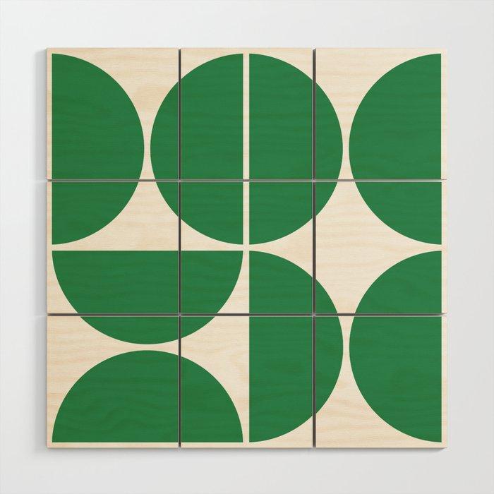 Mid Century Modern Green Square Wood Wall Art By Theoldartstudio