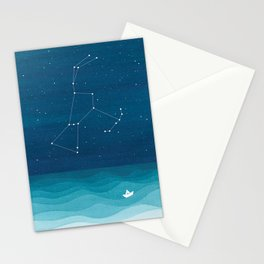 Orion Constellation, teal ocean sailboat illustration Stationery Cards