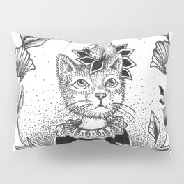 Cat Set 01 Ink Drawings - Cat and Bird Pillow Sham