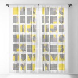 yellow and grey alphabet geometric and minimal  Sheer Curtain
