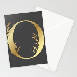 Monogram Gold Letter O Stationery Cards