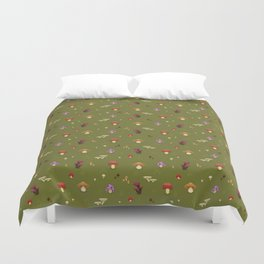 Pixel Mushrooms on Green Duvet Cover