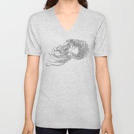Hair in the Wind, in transparent/black Unisex V-Neck