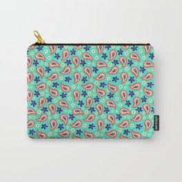 Colorful mint paisley Carry-All Pouch