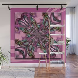 Purple digital flower arat Wall Mural