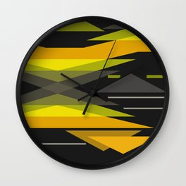 Black and yellow abstract geometric pattern . Wall Clock