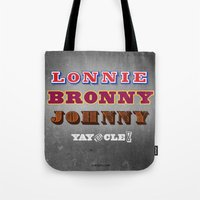 lebron Tote Bags featuring Lonnie, Bronny, Johnny by Melissa Olson