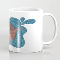 otters Mugs featuring Underwater Otters by Amarie